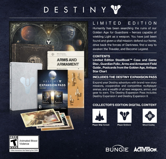Destiny (360, PC, PS3, PS4, Xbox One) Bta and CE Announcement - Limited Edition